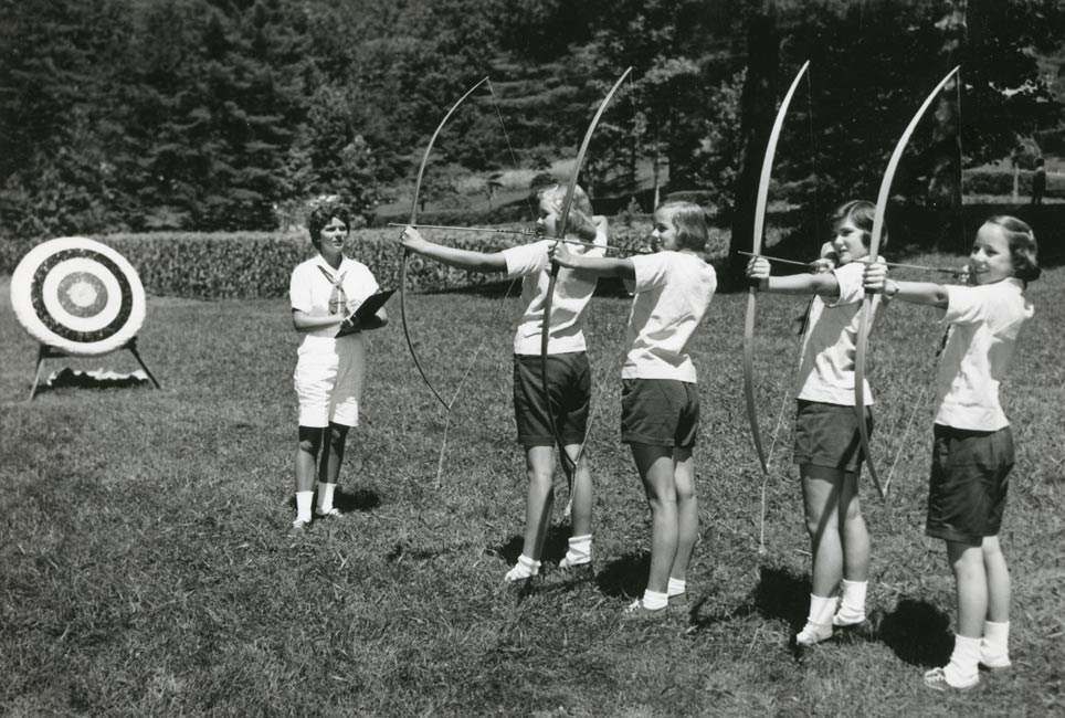 Campers practicing archery at Camp Merrie-Woode, vintage photo, vintage campers, girls at summer camp